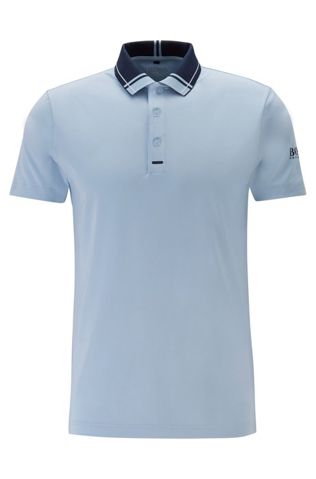 Slim-fit golf polo shirt in moisture-wicking fabric, Light Blue