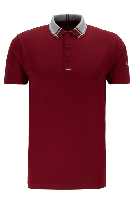 Golf-Poloshirt aus Single Jersey, Dunkelrosa