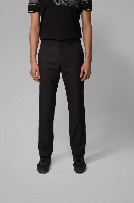 Slim-fit trousers in moisture-wicking fabric, Black
