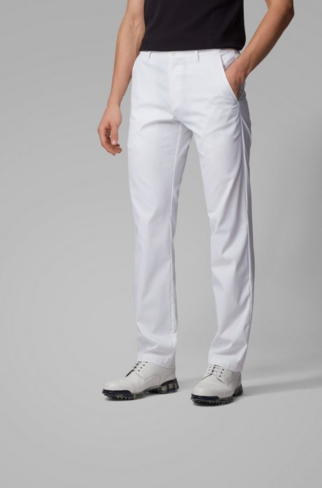 Slim-Fit Hose aus feuchtigkeitsableitendem Gewebe, Weiß