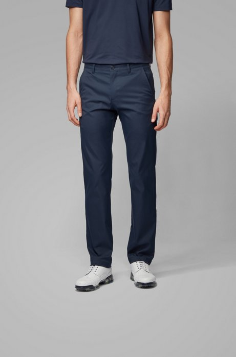 Slim-fit trousers in moisture-wicking fabric, Dark Blue