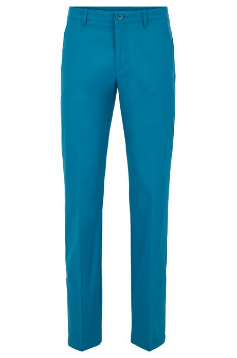 Slim-fit trousers in moisture-wicking fabric, Blue