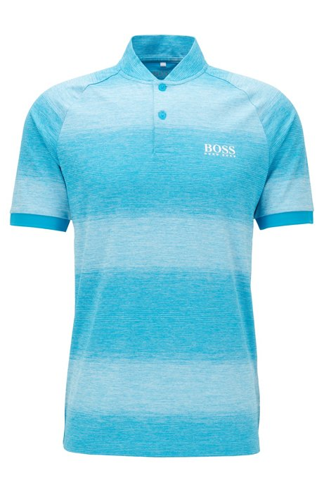 Polo da golf slim fit a righe mélange, Blu