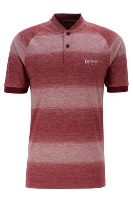 Meliertes Golf-Poloshirt mit Streifen, Rot