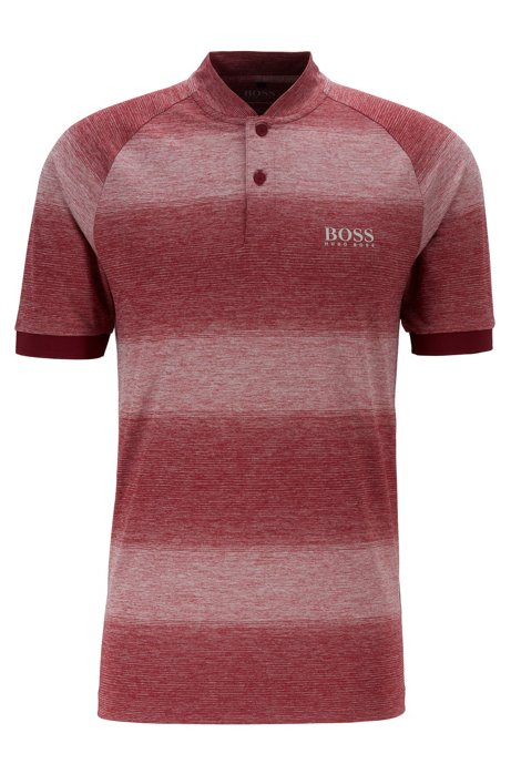 Polo de golf Slim Fit à rayures chinées, Rouge