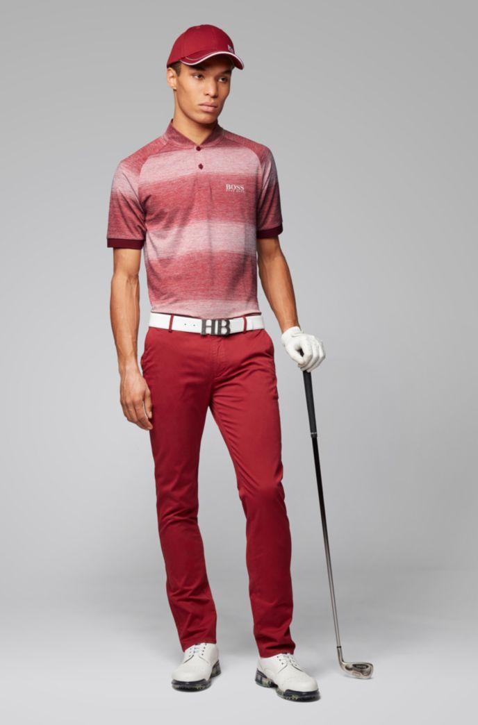 Slim-fit golfpolo met gemêleerde strepen