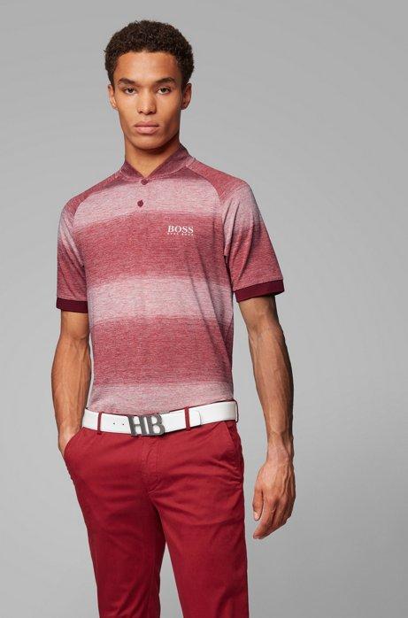 Slim-fit golfpolo met gemêleerde strepen, Rood