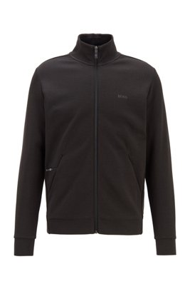 Zip-through sweatshirt with zipped phone pocket, Black