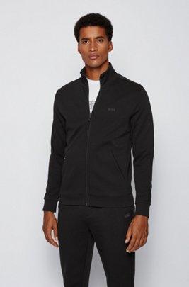 Sweatshirt met ritssluiting en telefoonzak met rits, Zwart