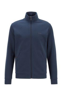 Sweatshirt met ritssluiting en telefoonzak met rits, Donkerblauw