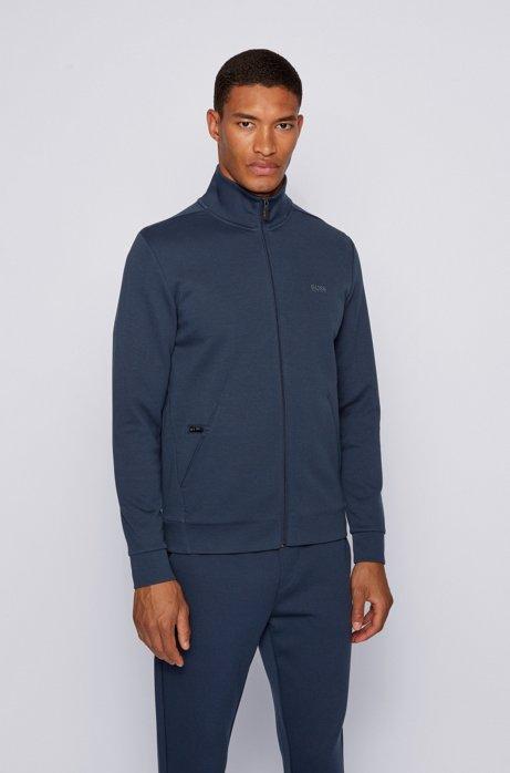 Zip-through sweatshirt with zipped phone pocket, Dark Blue