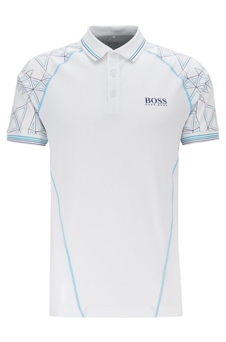 Regular-fit polo shirt with triangular artwork, White