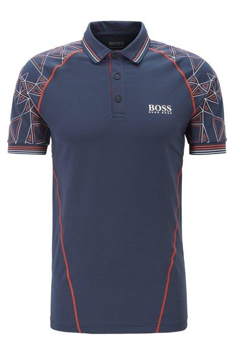 Regular-fit polo shirt with triangular artwork, Dark Blue