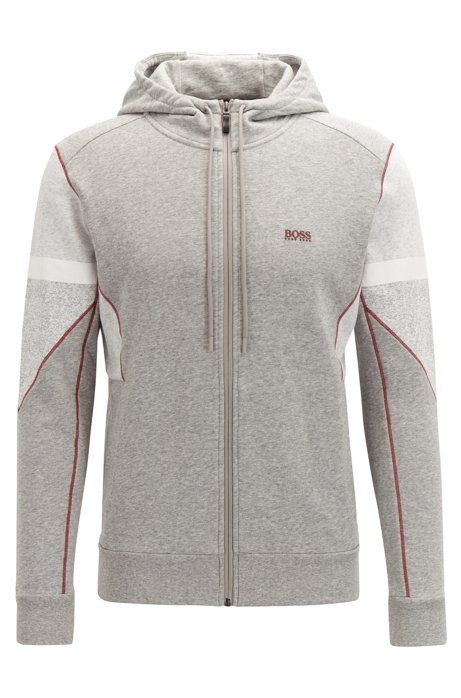 Zip-through hooded sweatshirt in French terry with Sorona®, Light Grey