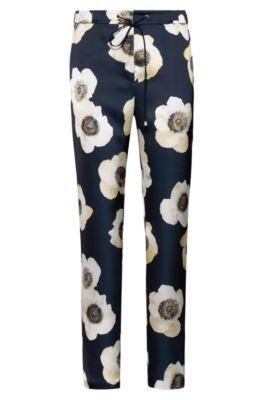 Pantalon à cordon de serrage en tissu martelé avec imprimé anémone, Fantaisie