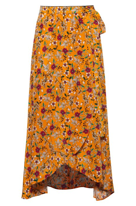 Floral-print midi wrap skirt with tie belt, Patterned