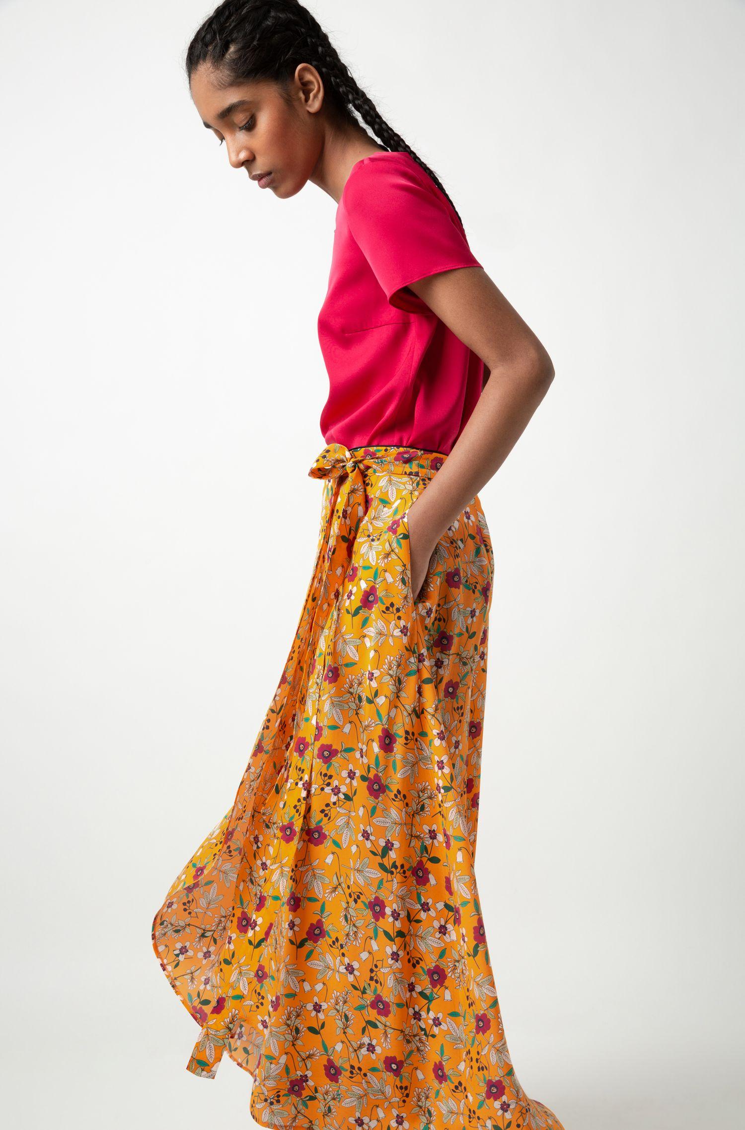 Jupe portefeuille mi-longue à imprimé floral et ceinture à nouer, Fantaisie