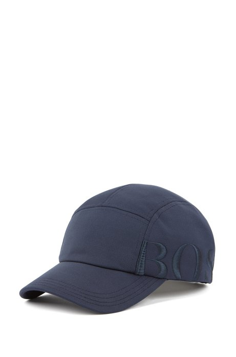 Logo cap in micro-structured stretch fabric, Dark Blue