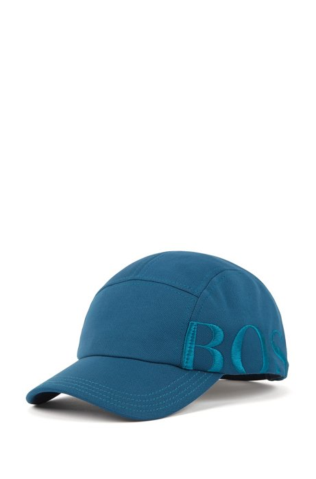 Logo cap in micro-structured stretch fabric, Open Blue