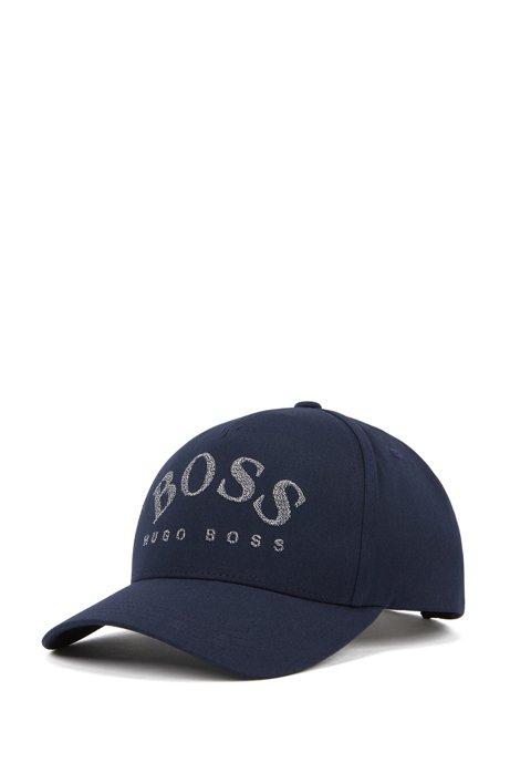 Casquette légère en twill de coton mélangé à logo incurvé, Bleu foncé