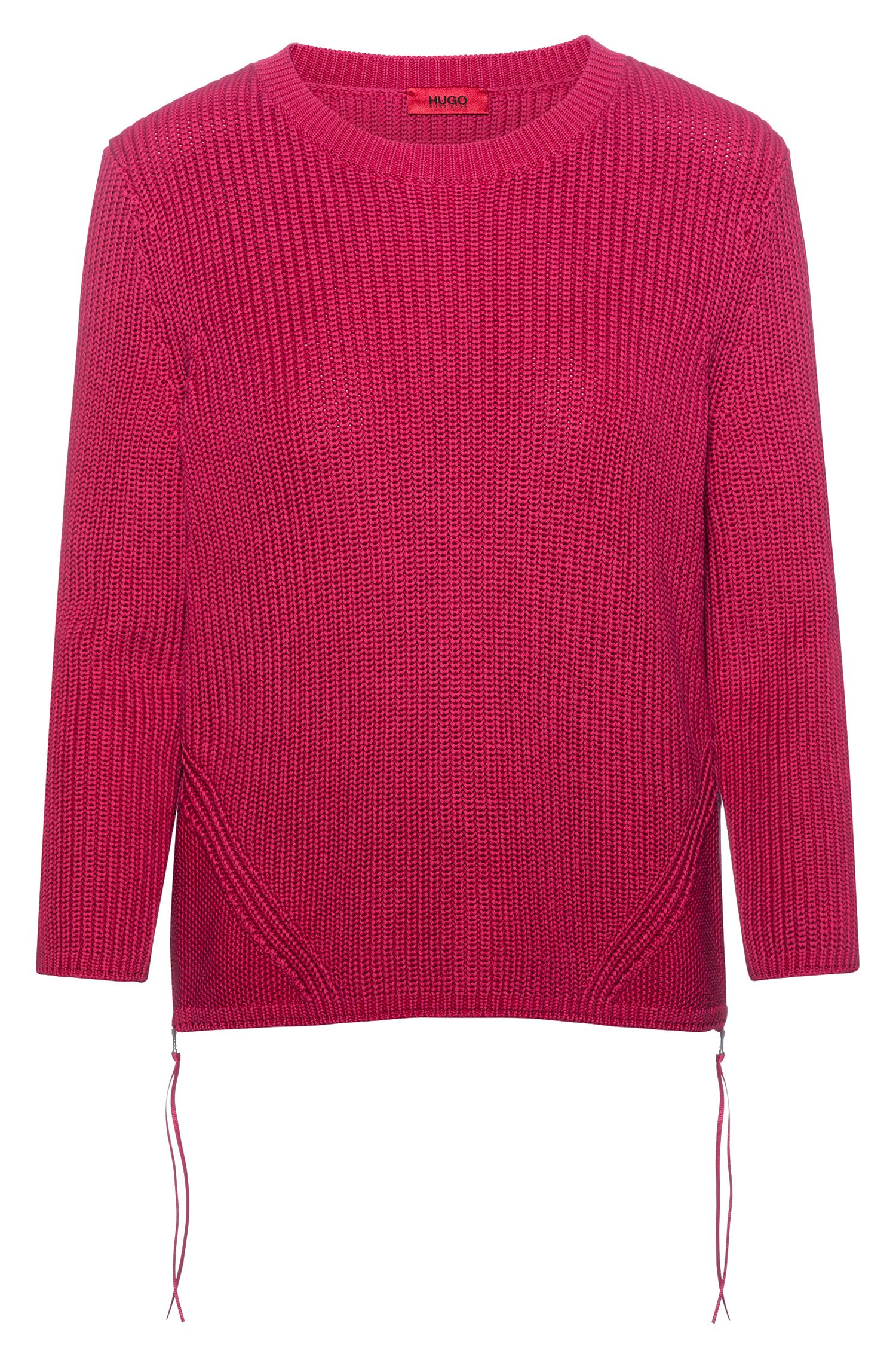 Ribbed sweater in pure cotton with zipped side seams, Dark pink