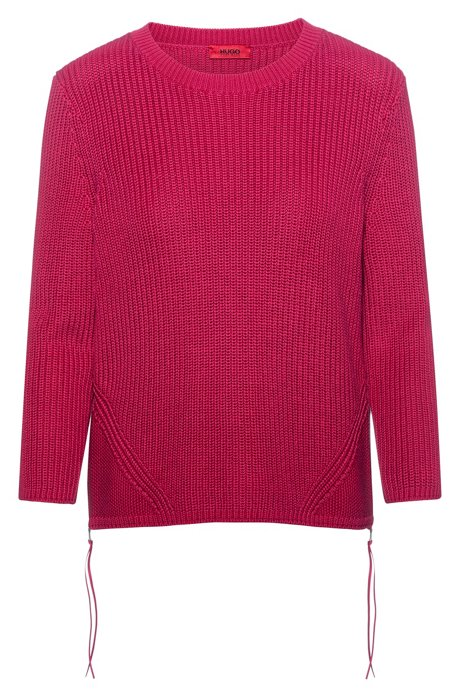 Gerippter Pullover aus reiner Baumwolle mit seitlichen Reißverschlüssen, Dunkelrosa