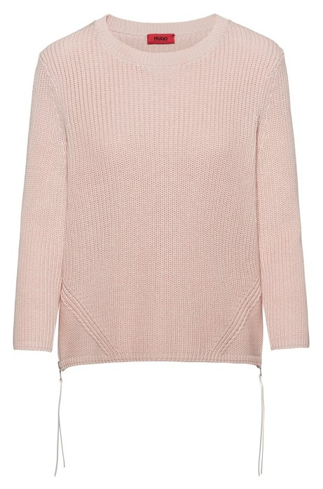 Ribbed sweater in pure cotton with zipped side seams, light pink