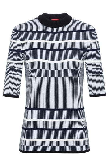 Slim-fit striped sweater in super-stretch yarn, Patterned