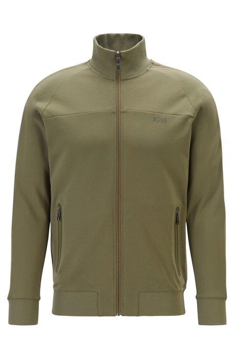 Regular-fit sweatshirt with logo-tape sleeves, Dark Green