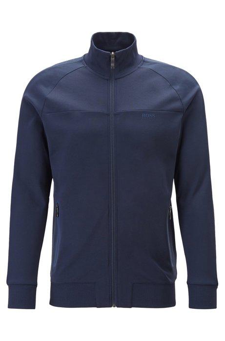 Regular-fit sweatshirt with logo-tape sleeves, Dark Blue