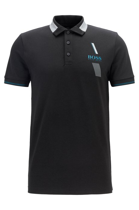 Slim-fit polo shirt with S.Café® and contrast collar, Black