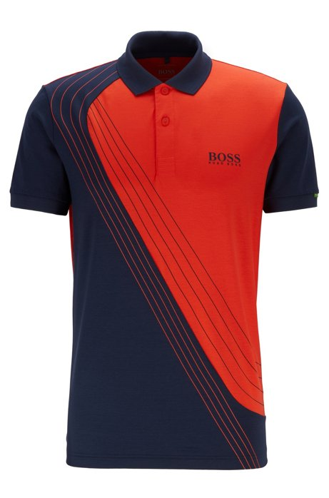 Martin Kaymer colour-block polo shirt in moisture-wicking piqué, Dark Blue