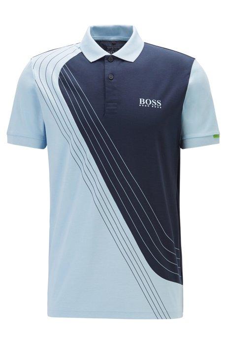 Martin Kaymer colour-block polo shirt in moisture-wicking piqué, Light Blue