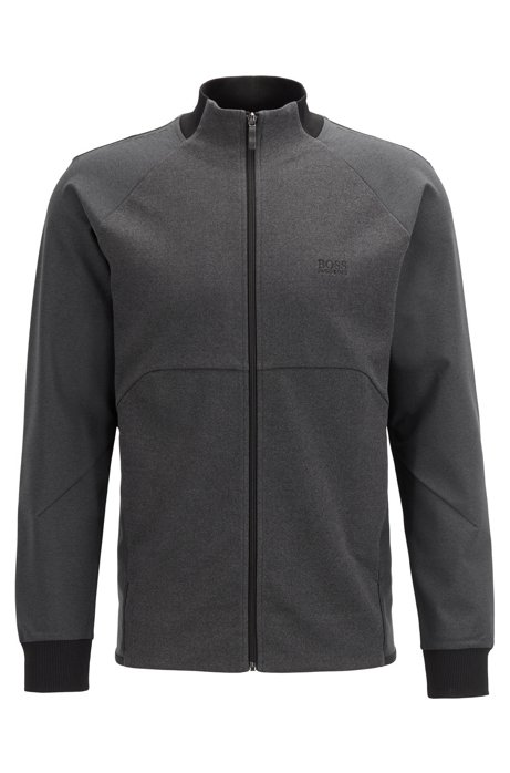 Zip-through jersey sweatshirt with S.Café® and piqué panels, Grey
