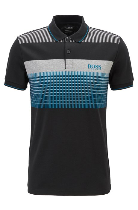 Regular-fit polo shirt in moisture-wicking cotton, Black