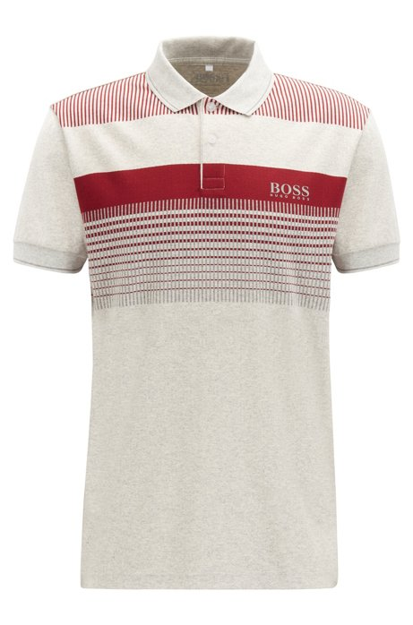 Regular-fit polo shirt in moisture-wicking cotton, Light Grey