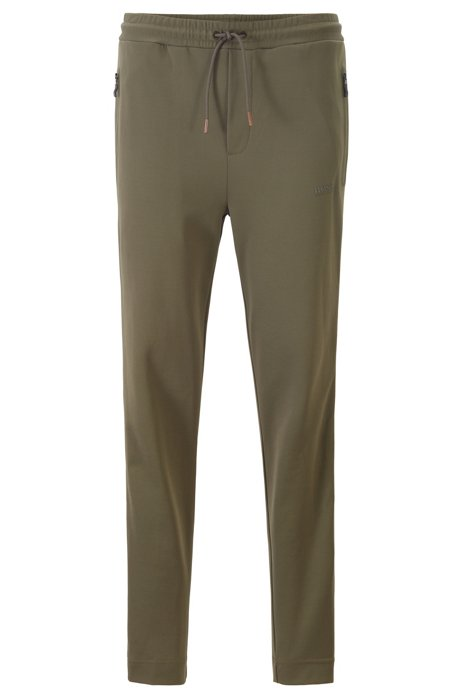 Regular-fit jogging trousers with side-seam logo tape, Dark Green