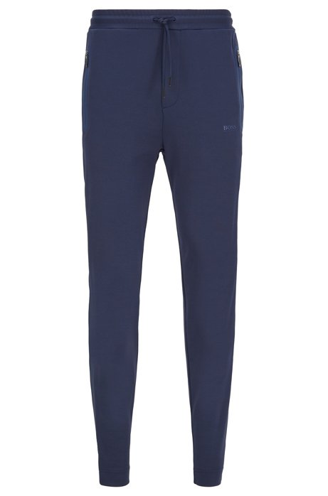 Regular-fit jogging trousers with side-seam logo tape, Dark Blue