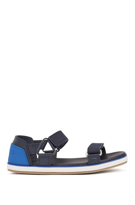 Italian-made leather sandals with touch-fastening straps, Dark Blue