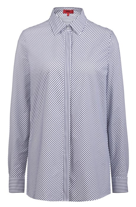 Diagonal-striped regular-fit blouse with concealed placket, Patterned