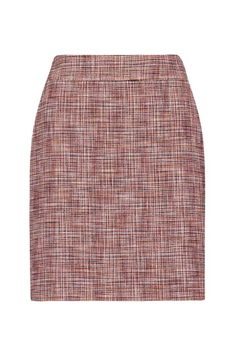 Slim-fit mini skirt in stretch tweed, Patterned