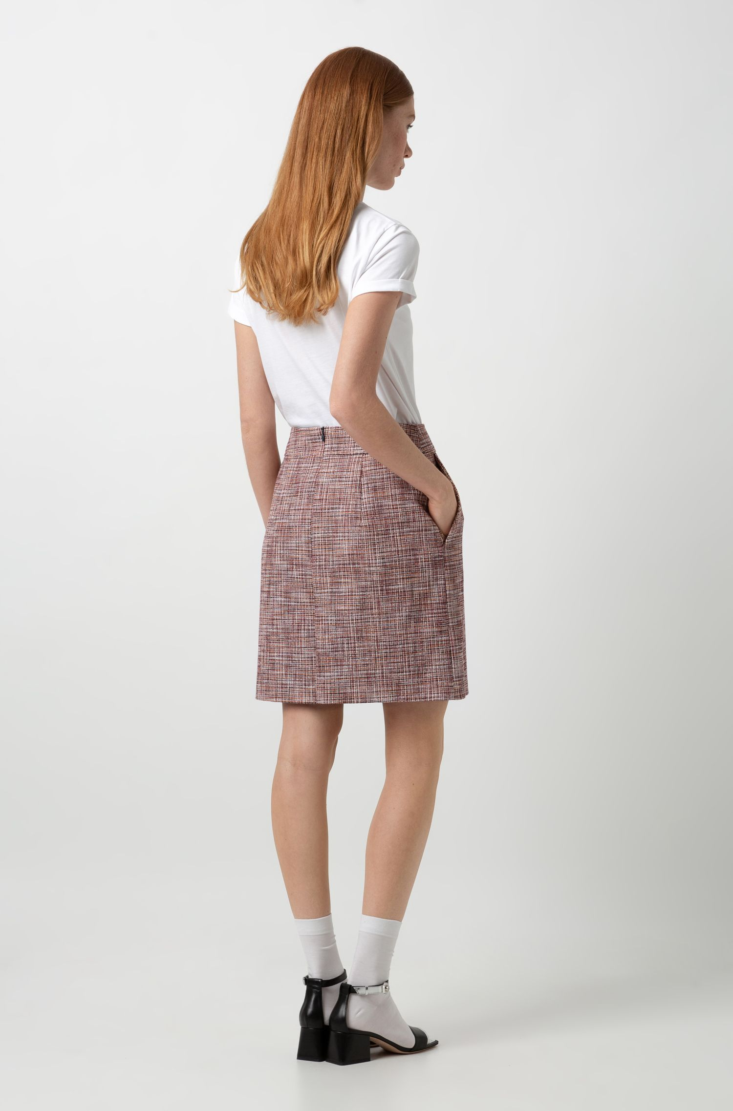 Slim-fit minirok van stretch tweed, Bedrukt