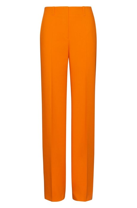 Pantalon large à taille haute, Orange