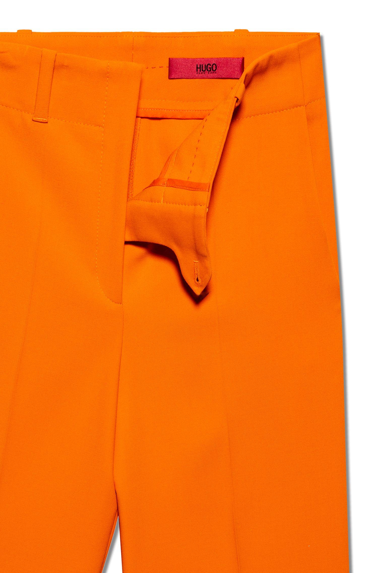 Broek met hoge taille en wijde pijpen, Oranje