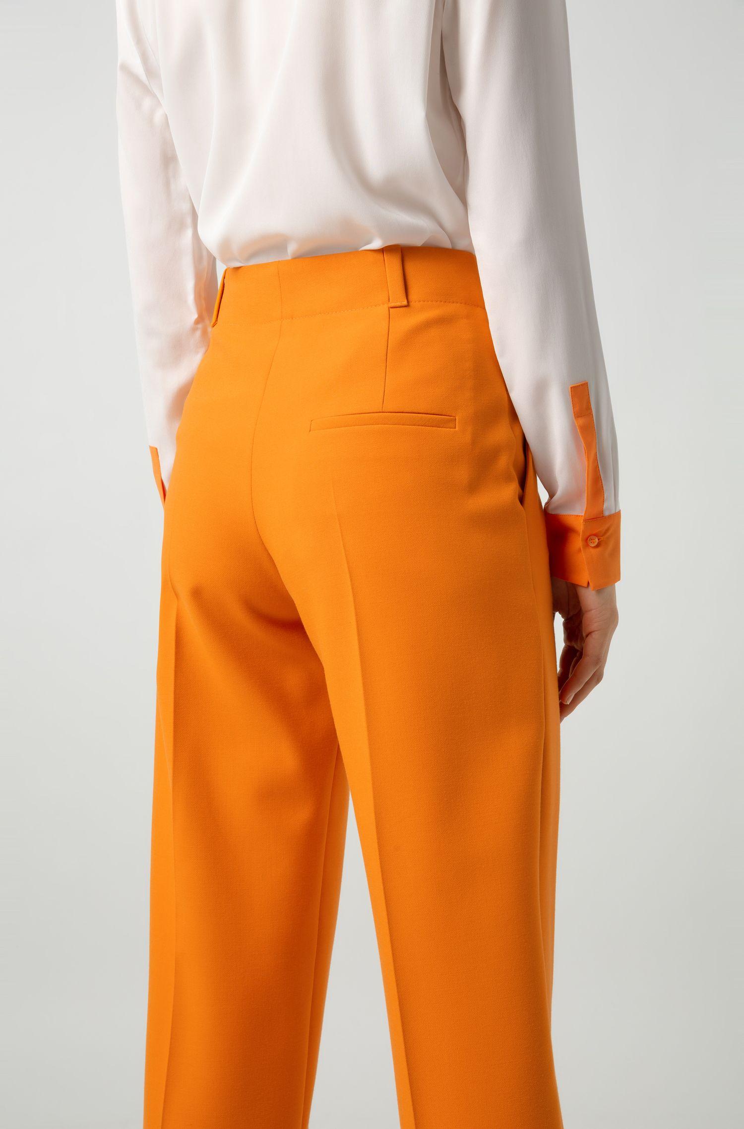 Pantaloni con gamba larga e vita alta, Arancione