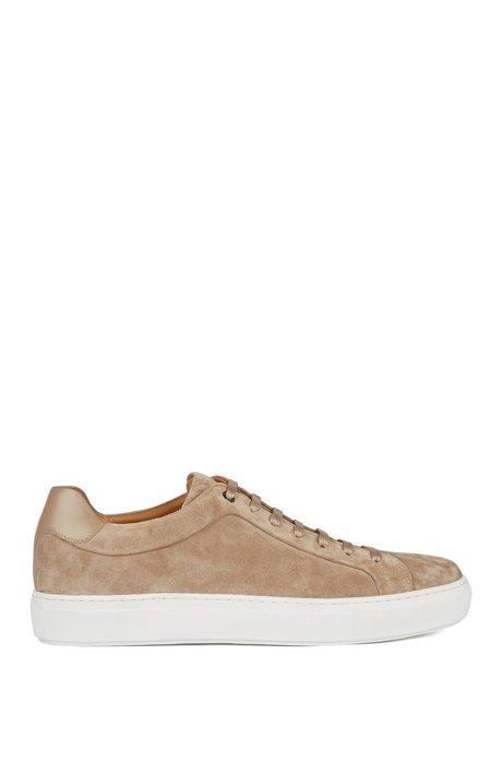 Sneakers in pelle scamosciata italiana con fodera interna in pelle color cognac, Beige