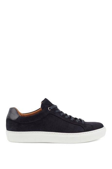 Sneakers aus italienischem Veloursleder mit cognacfarbenem Innenfutter aus Leder, Schwarz