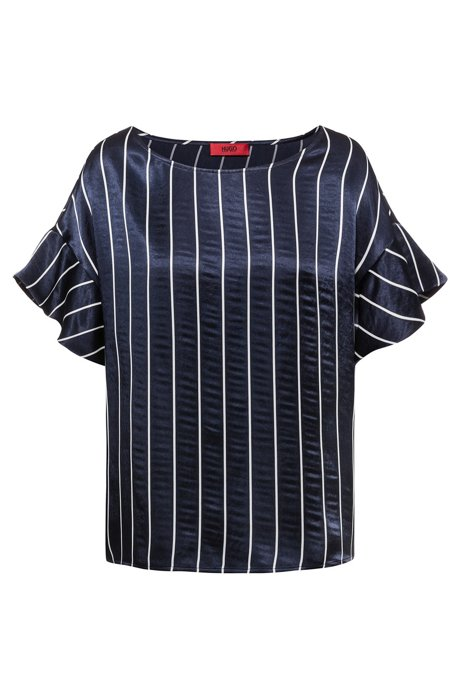 Relaxed-fit striped top with volant sleeves, Patterned