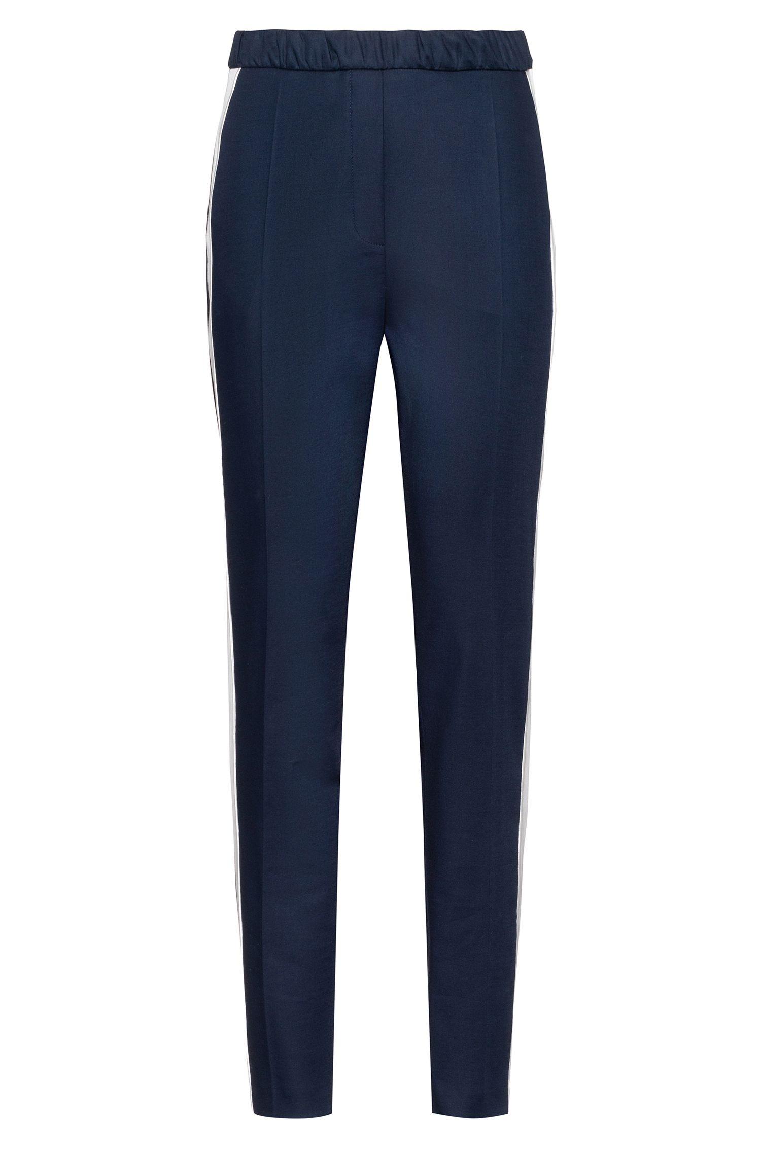 Pantalon taille haute en gabardine stretch à rayures contrastantes, Bleu
