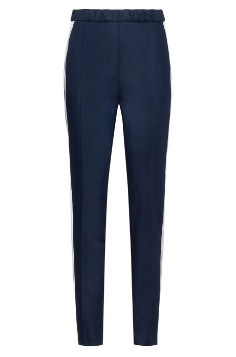 High-waisted trousers in stretch gabardine with contrast stripe, Blue